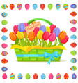 happy easter note in tulips bouquet vector image vector image