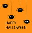 happy halloween spider set four hanging black vector image vector image