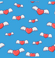 hearts with wings seamless pattern vector image vector image