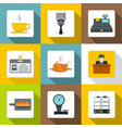 hotel icons set flat style vector image vector image