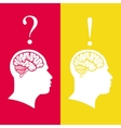 human heads with brain problem and solution vector image