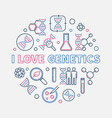 i love genetics creative outline round vector image