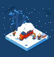 isometric snowball winter boys walking sleigh snow vector image
