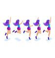 isometrics girl jumping having fun happy with vector image vector image