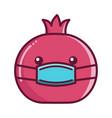 kawaii pomegranate fruit wearing mask cartoon vector image