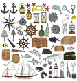 Marine hand painted symbols vector image