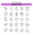 marketing line icon set - 25 dashed outline style vector image