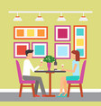 meeting of couple glass of wine man woman vector image vector image