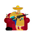mexican grandmother with gun old woman from vector image vector image