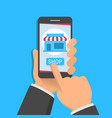 mobile shopping application concept one hand vector image vector image