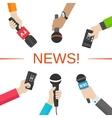 News journalism concept Hands with microphones vector image vector image