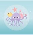 octopus crab starfish and fish life cartoon under vector image vector image