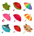 ollection of cute colorful umbrellas vector image vector image