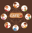 people in cafe with friends vector image vector image