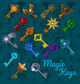 poster with colorful vintage magic keys isolated vector image vector image
