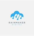 rain cloud link digital logo icon template vector image vector image