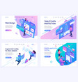 set isometric landing pages on topic web vector image