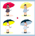 set of for girls with umbrellas vector image
