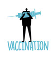 silhouette a man with big blue syringe in hands vector image