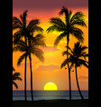 summer tropical beach background with palms sky vector image