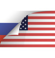 us flag falls off the russian flag in the vector image