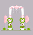 wedding arch flat engagement vector image vector image