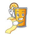 with menu orange juice mascot cartoon vector image