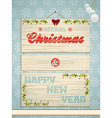 Wooden Christmas and New Year sign vector image vector image