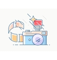 Photo camera with film vector image