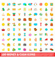 100 money and cash icons set cartoon style vector image vector image