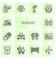 14 newborn icons vector image vector image