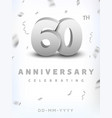 60 years silver number anniversary celebration vector image vector image