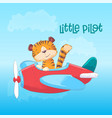 a cute tiger on a plane hand draw vector image vector image