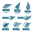 Abstract wings logo set for delivery cargo vector image