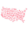 america set icons usa tourist attraction vector image