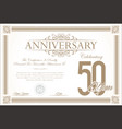 anniversary retro vintage background 50 years vector image vector image
