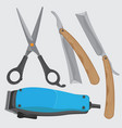 barber set icon tools vector image