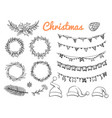 big sketch christmas symbols elements vector image vector image