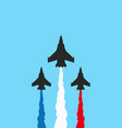 black military fighters with colored trails on vector image vector image