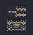 business card design with gold pattern on dark vector image