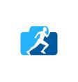 camera run logo icon design vector image