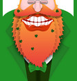 cheerful leprechaun with red beard good gnome vector image vector image