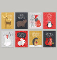 christmas animals card set christmas animals card vector image vector image