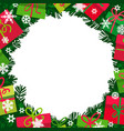 christmas bacground with fir branches gift boxes vector image