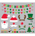 Christmas photo booth and decoration set vector image vector image