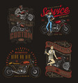 colorful motorcycle vintage designs vector image vector image