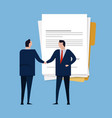 contract paper document agreement business people vector image vector image