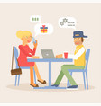 couple sitting at cafe table vector image