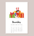 december dog 2018 year calendar vector image