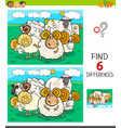 differences game with sheep and rams characters vector image vector image